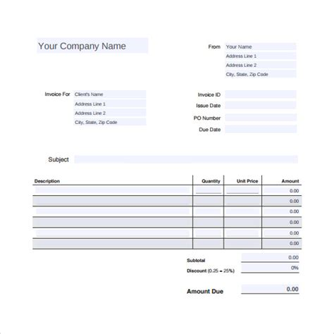 sample auto repair invoice template