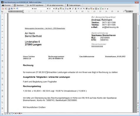 Rechnung Muster Zum Ausdrucken Freie Rechnungsstellung Betreuung De