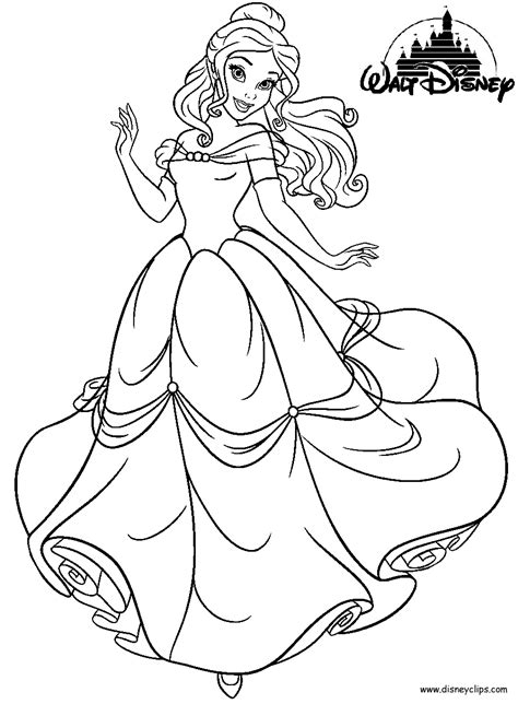disney princess belle printable coloring pages