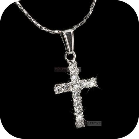 18 k white gold cross pendant leather backed large heavy men s pendant necklace 18k white gold gp made with swarovski