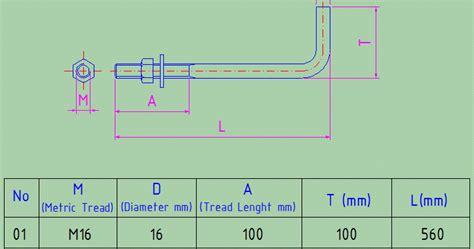 Baut L 8x50 Putih Galvaniz gambar teknik anchor bolt