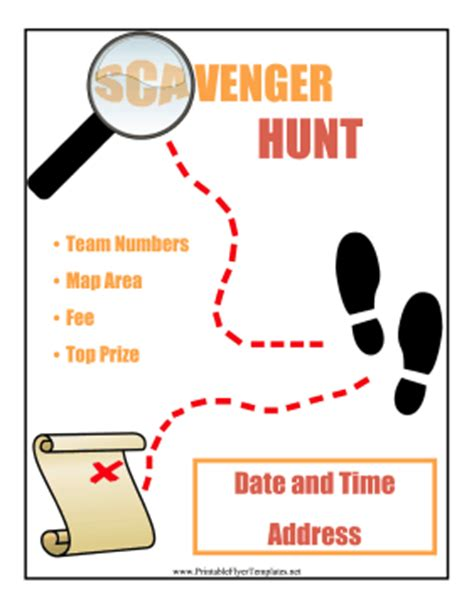 scavenger hunt template scavenger hunt flyer