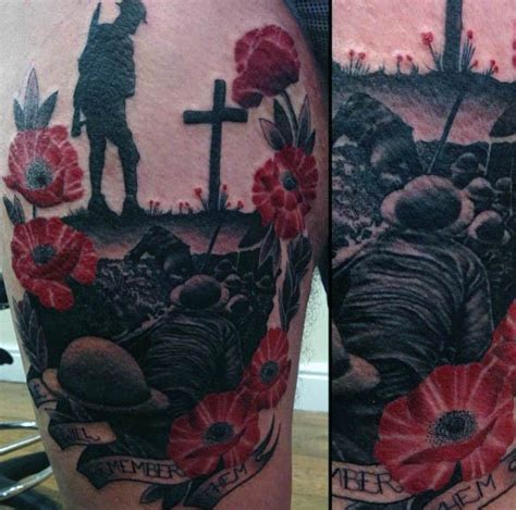 75 poppy tattoo designs for men remembrance flower ink