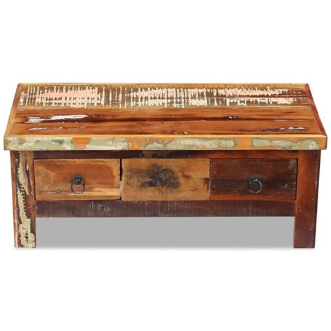 solid wood desk with drawers vidaxl coffee table drawers solid reclaimed wood 90x45x35