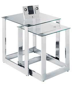 amazon nest of tables clear glass chrome nest of tables set amazon co