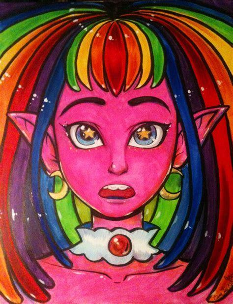 rainbow alien girl painting  doublemaximus  newgrounds