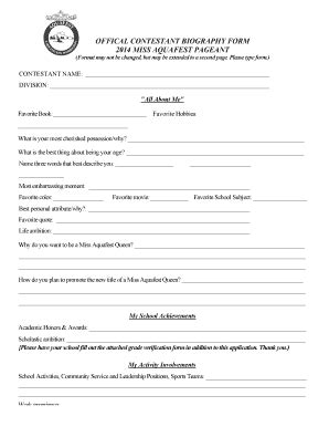biography in bullet form pageant bio sheet exle fill online printable