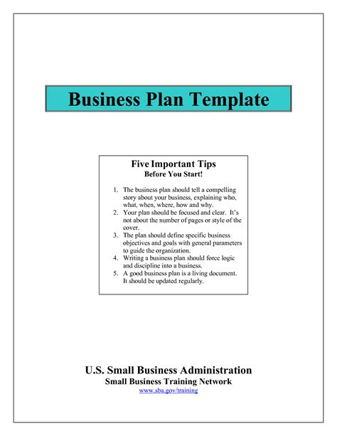 business plan template sba business plan template sba