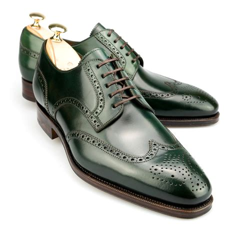 green dress shoes wingtip derby in green cordovan carmina