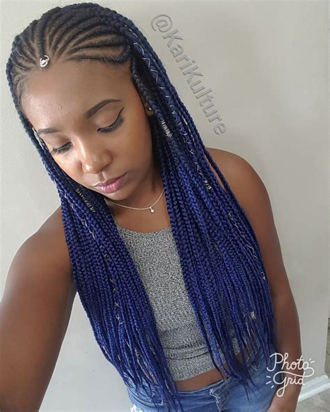 parting techniques for braiding fulani braids blue hair protective style on natural hair