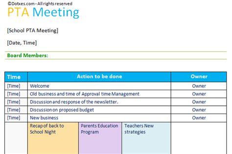 PTA agenda template (Table Layout)   Dotxes