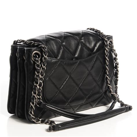 Quilted Chanel by Chanel Lambskin Quilted Chanel 3 Flap Black 78851