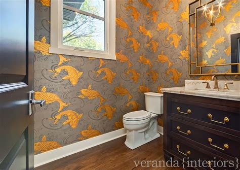 Bathroom Wallpaper Fish by Koi Wallpaper Transitional Bathroom And Company