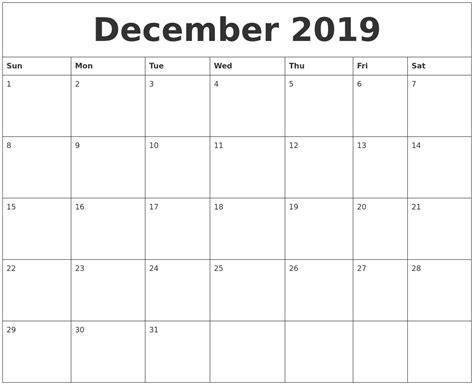december printable monthly calendar