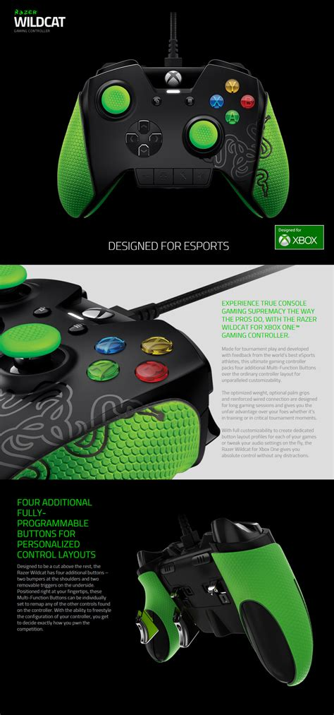 Razer Wildcat For Xbox One Gaming Controller razer wildcat gaming controller for xbox one rz06 01390100 r3m1 pc gear