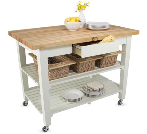 Kitchen Work Tables On Wheels Boos Butcher Block Kitchen Island With Shelves And Drawer Wow
