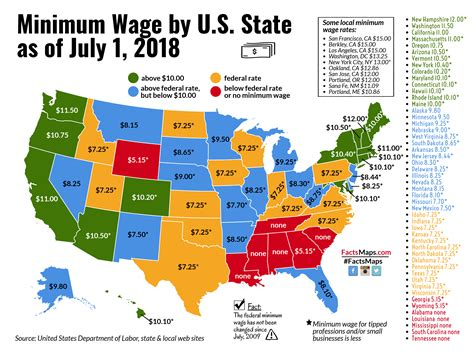 what is minimum wage minimum wage by u s state as of july 1 2018 factsmaps