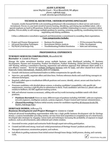 technical recruiter resume exle resume exles and