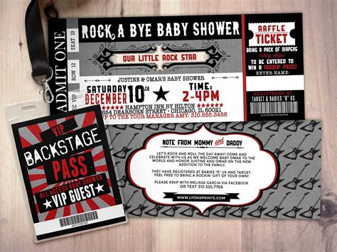 Ticket Baby Shower Invitations by Rock Concert Ticket Baby Shower Invitation Coed Baby