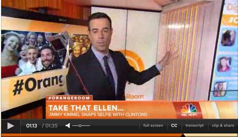 today show orange room carson daly reports from orange room with his xshot selfiestick jimmy kimmel snaps selfie with