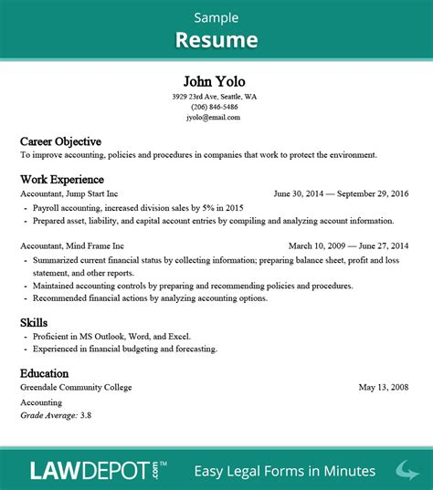 resume builder free resume template us lawdepot
