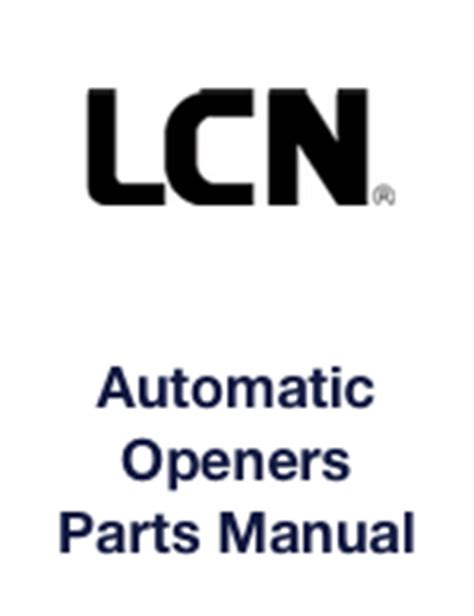 lcn parts manuals for 1000 4000 concealed sentronic