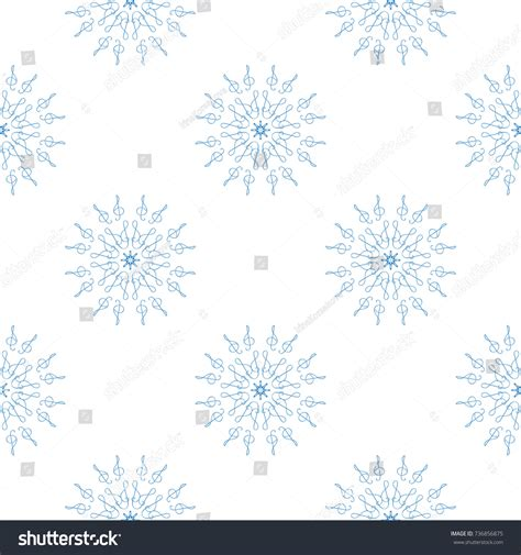 printable blue snowflakes seamless pattern blue snowflakes treble clef stock vector