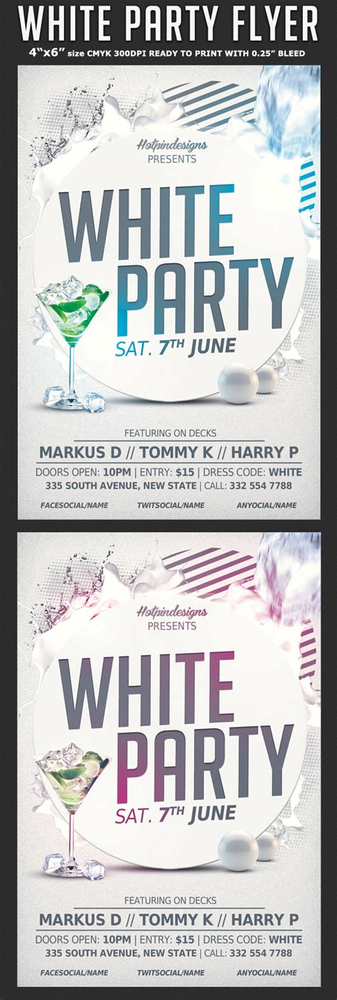 White Affair Party Flyer Template Flyerstemplates Event Flyer Templates