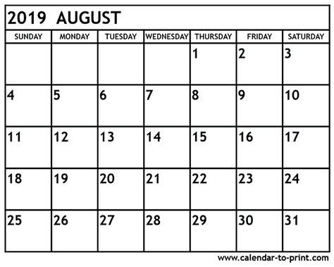 august  calendar printable