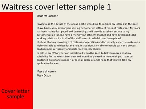 waitress cover letter sle application letter for waiter post 28 images