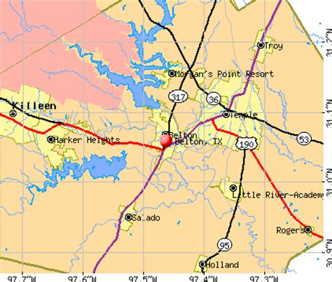 belton texas map from bell county texas