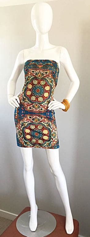 Tods Wedges 662 6 vintage todd oldham 1990s bodycon tapestry print
