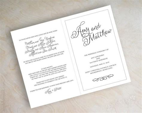 Simple Plain Black And White Script Name Bi Fold Wedding Programs Ceremony Programs Mass Bi Fold Wedding Program Template