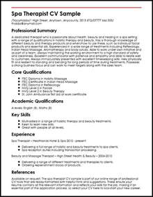 Curriculum Vitae For Physical Therapist by Spa Therapist Cv Sample Myperfectcv