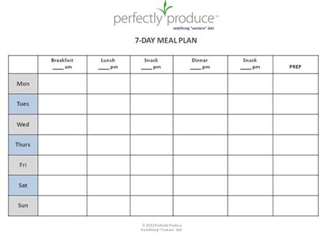 Free 7 Day Meal Planning Template Quot Always Be Prepared For Your Next Meal Before It S Time To Meal Plan Template Printable