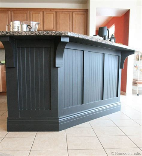 wainscoting kitchen island remodelaholic kitchen island makeover with corbels part two