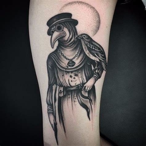 plague doctor tattoo 10 ominous blackwork plague doctor tattoos tattoodo