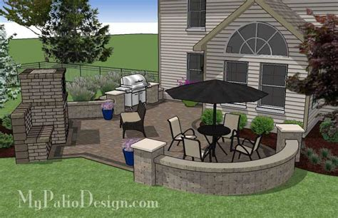 l shaped patio design with grill station and fireplace 430 sq ft mypatiodesign com
