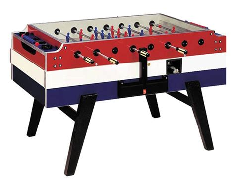 football on table garlando white blue coin operated football table