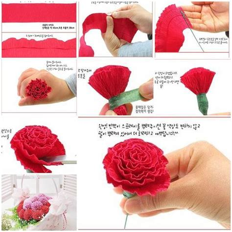How To Make Tissue Paper Carnations - diy beautiful crepe paper carnation