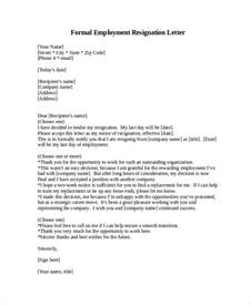 Employment Resignation Letter by Formal Resignation Letter Sle 8 Exles In Word Pdf