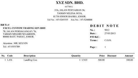 Tax Credit Note Format Malaysia Stock System Million Business Software