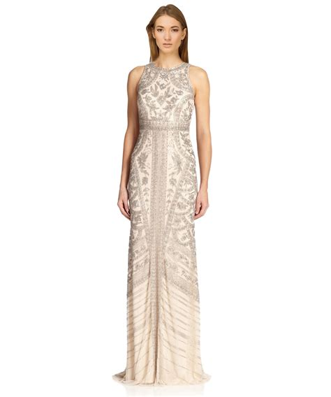 Sleeveless Evening Gown theia beaded sleeveless formal evening gown in lyst