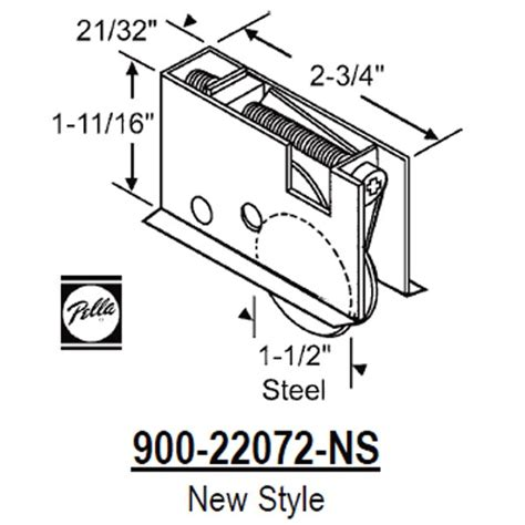 Pella Patio Door Parts Pella Pella Patio Door Roller 900 22072 Ns