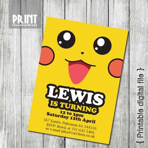 pikachu birthday card template invitations pikachu 5x7 by