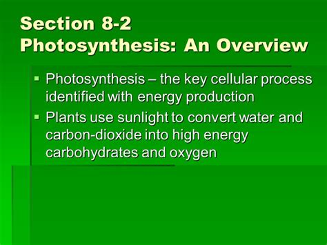 Section 8 Energy And by Chapter 8 Photosynthesis Ppt