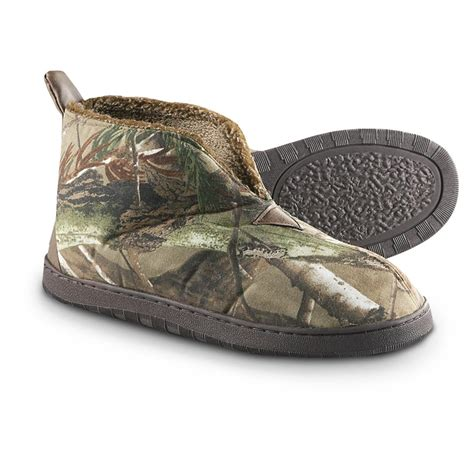 camouflage slippers s guide gear textile slip on booties realtree all