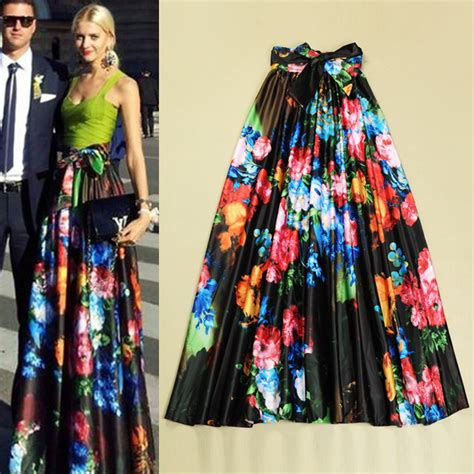 Hq 8755 Retro Flower Skirts 2014 fashion new winter big pendulum floral skirt fashion pleated retro skirts in