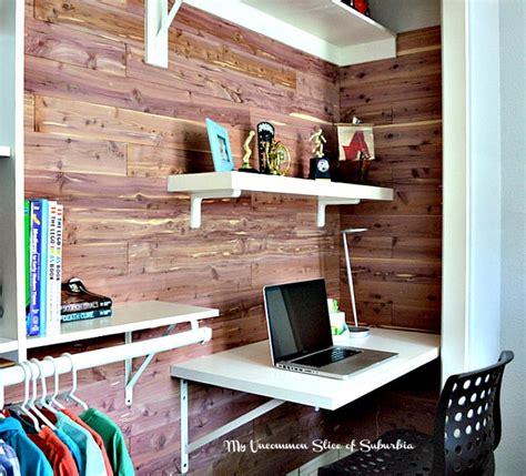 Diy Cedar Planked Closet With Built In Desk Diy Closet Desk