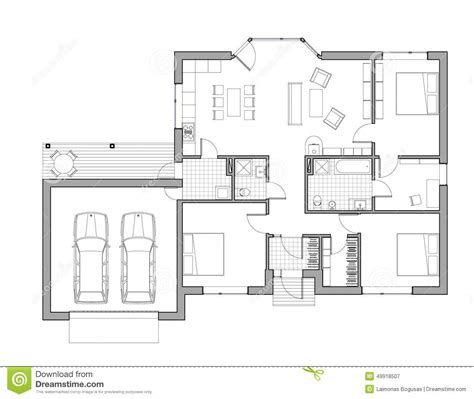 single family house plans drawing single family house stock illustration